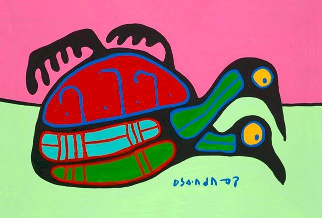 Capulet Art Gallery - Norval Morrisseau - Duo on the Pond