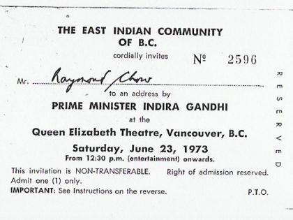 Indira Gandhi Invitation