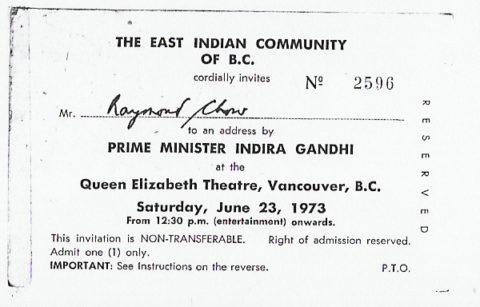Indira Gandhi Invitation