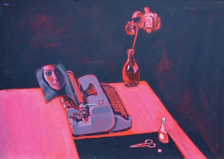 Perrier Red Rose Typewriter